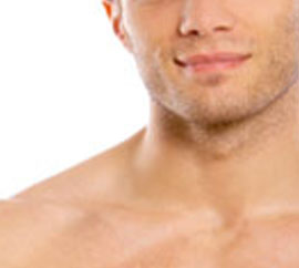 Man showing face and chest